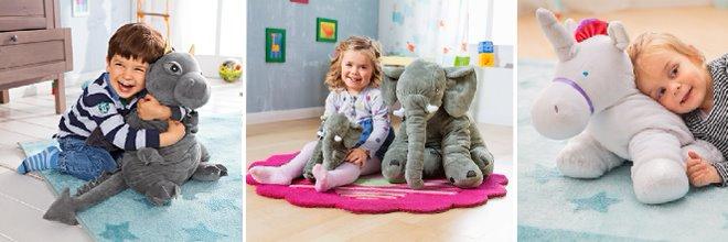 Velký polštář a hračka v jednom - slon, jednorožec, drak a sloní rodina.